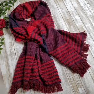 Merona red plaid large thick knitted scarf